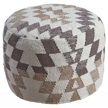 Abraham - White/Brown - Pouf