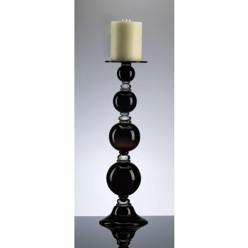 Large Black Globe Candleholder Black and Clear