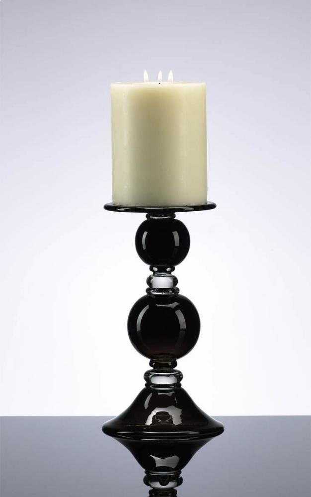 Small Black Globe Candleholder Black and Clear
