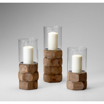 Md Hex Nut Candleholder Natural Wood