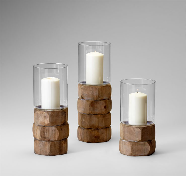 Md Hex Nut Candleholder Natural Wood