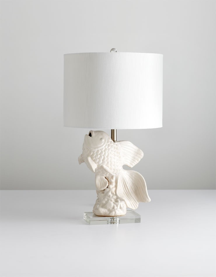 Seaside Lamp Ceramic // White Faux Silk Shade // White Lining White And Cream Glaze