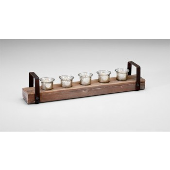 Clifton Candleholder Iron // Glass // Wood Raw Iron And Natural Wood