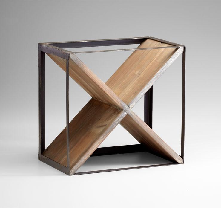 Cube Wine Holder Iron // Wood Raw Iron And Natural Wood