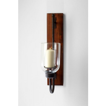 Sydney Candleholder Iron // Glass // Wood Raw Iron And Natural Wood