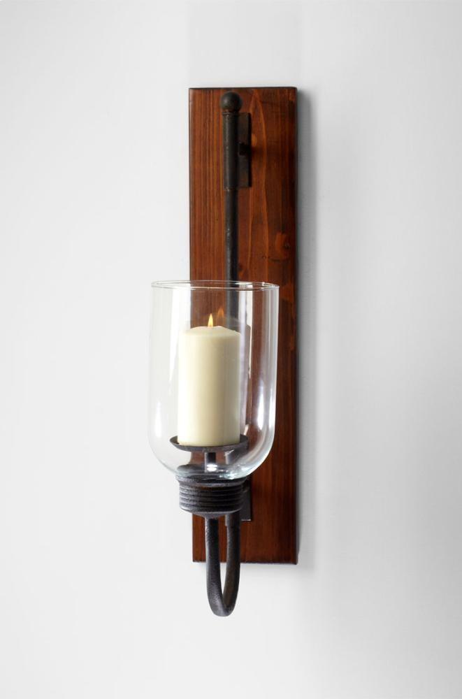 Sydney Candleholder Iron // Glass // Wood Raw Iron And Natural Wood