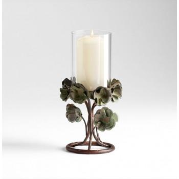 Small Leigh Green Rose Candleholder Bronze Patina