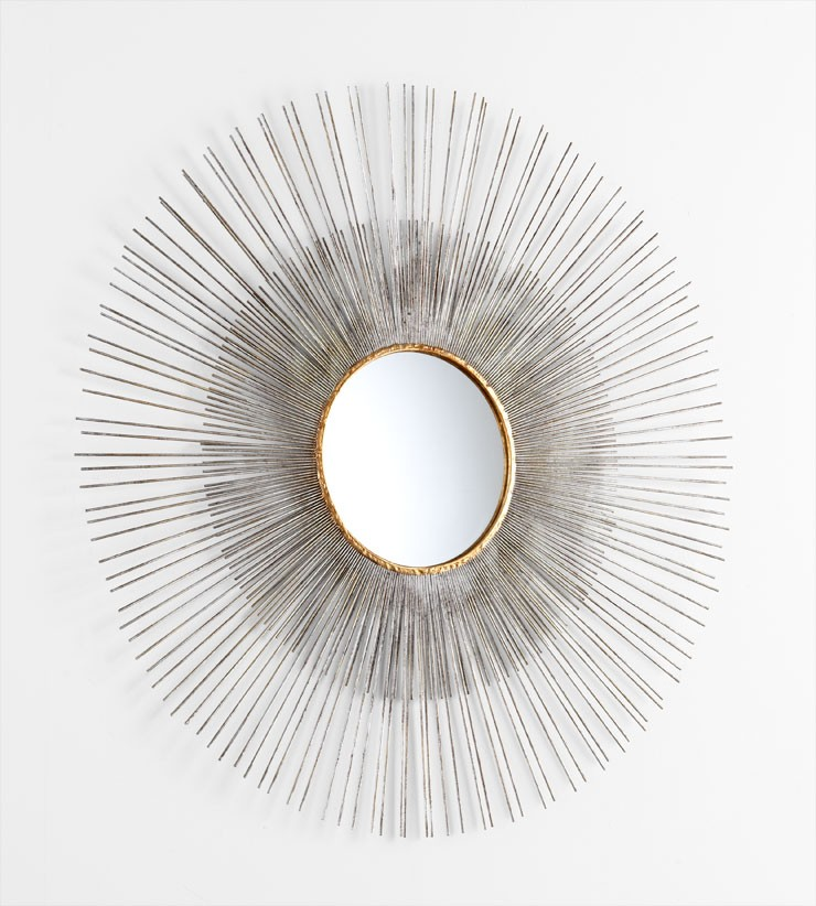 Large Pixley Mirror Iron // Mirrored Glass Antiqued Silver Leaf