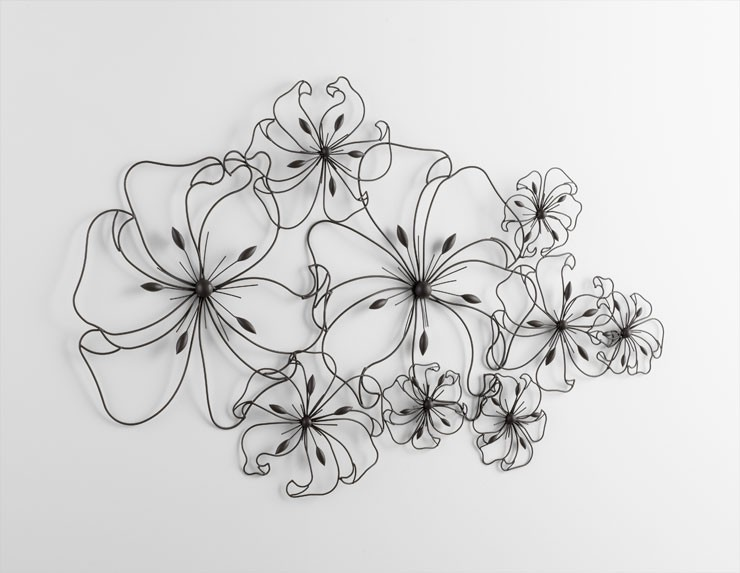 Six Flower Fancy Wall Art Iron Graphite