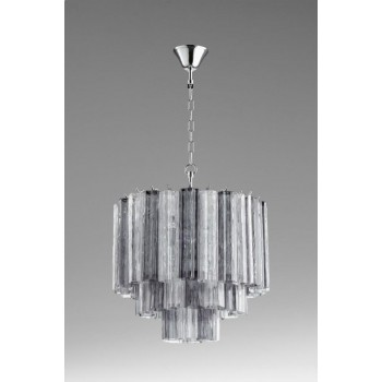 Night and Day Pendant Iron // Clear // Smoked Glass Chrome