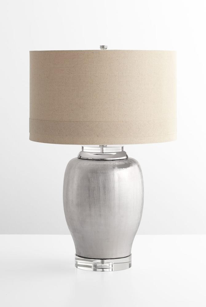 Radiance table lamp ceramic crystal base natural linen shade off