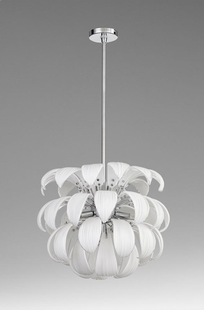 Day Lily 6lt Pendant Iron // White Glass Chrome