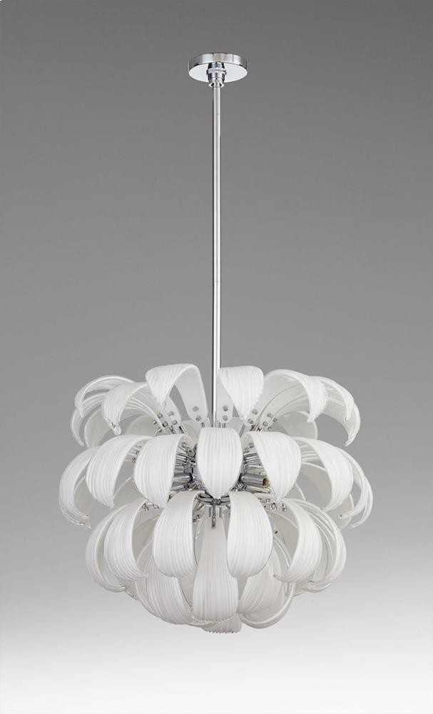 Day Lily 7lt Pendant Iron // White Glass Chrome
