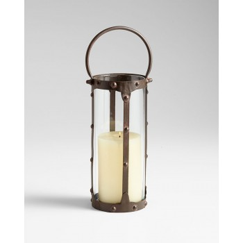 Lg. Borin Candleholder Iron // Glass Rustic