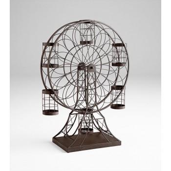 Ferris Wheel Wine Holder Iron Ebony