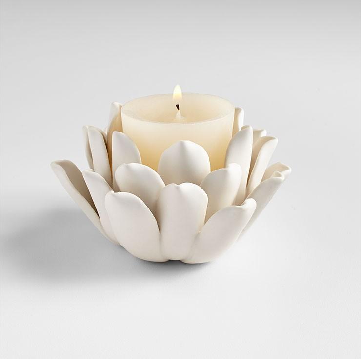 Dahlia Candleholder Ceramic Matte White