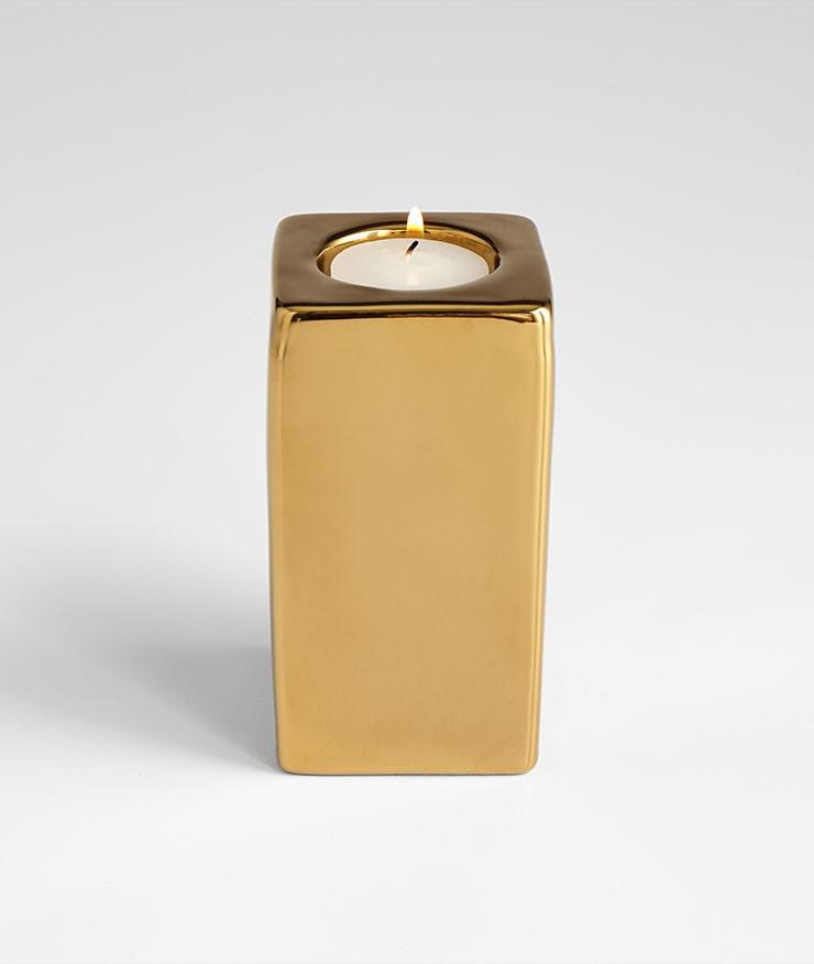 Medium Etta Candleholder Ceramic Gold
