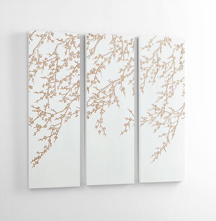 Cherry Blossom Wall Art Wood White And Gold Wall Art At Hom