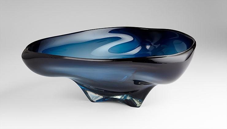 Large Alistair Bowl Blue // Black Glass Blue