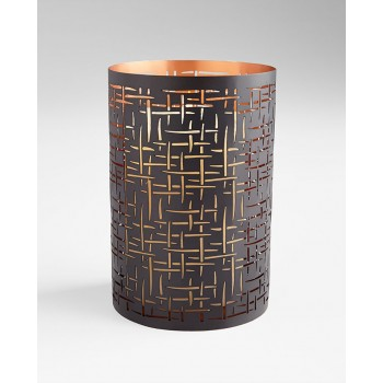 Large Weave Candleholder Iron Brown and Copper