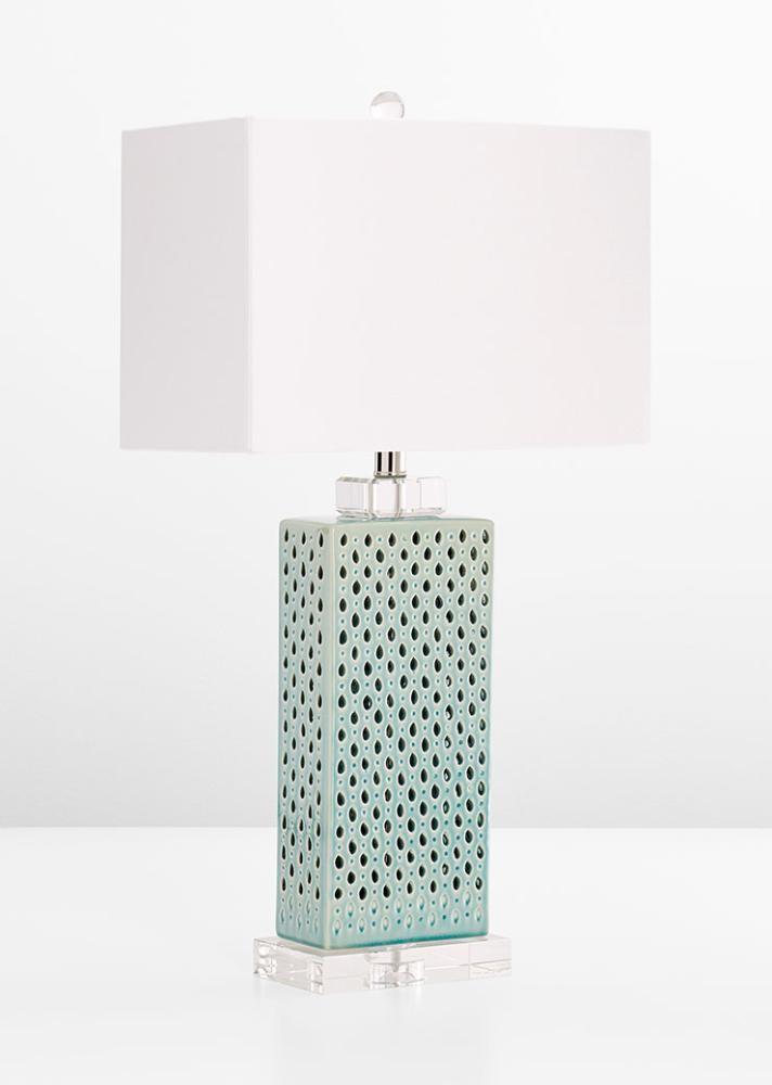 Sareta Table Lamp Ceramic Crystal Base White Linen Shade Blue