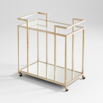 Revival Bar Cart Iron // Tempered Glass Antique Silver