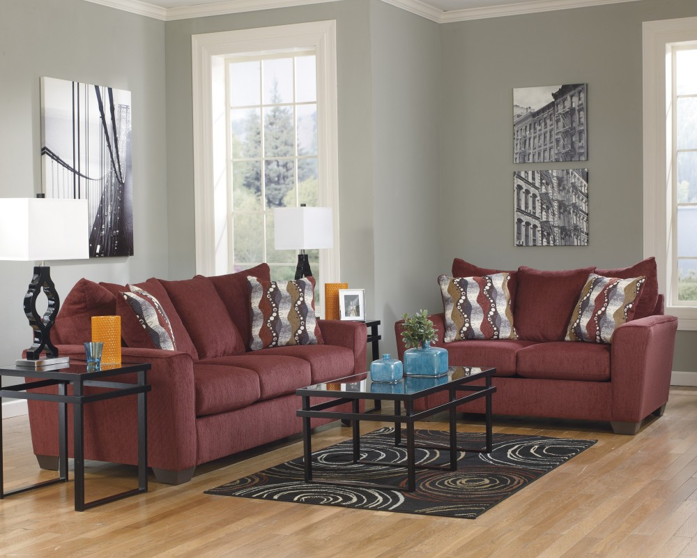 Brogain   Burgundy Living Room Set