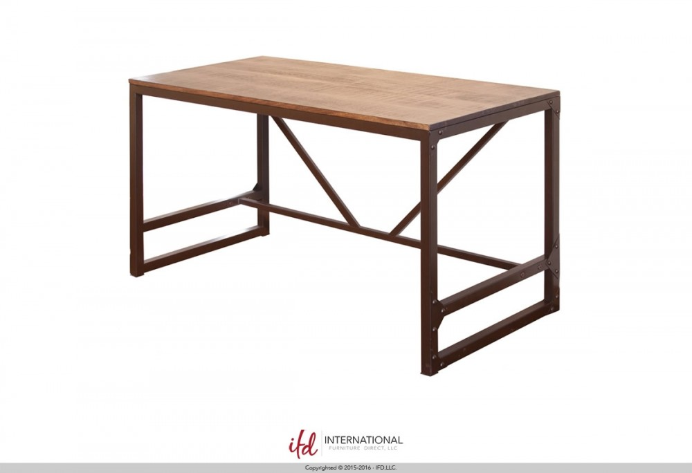 IFD Desk with Wood Top & Iron Base