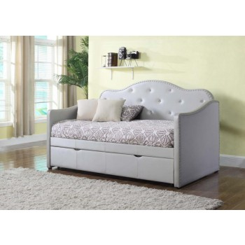 TWIN DAYBED WITH TRUNDLE - Pearlescent Grey Upholstered Daybed