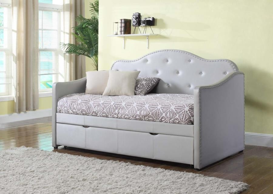 Day Bed.Pearlescent Grey Upholstered Daybed