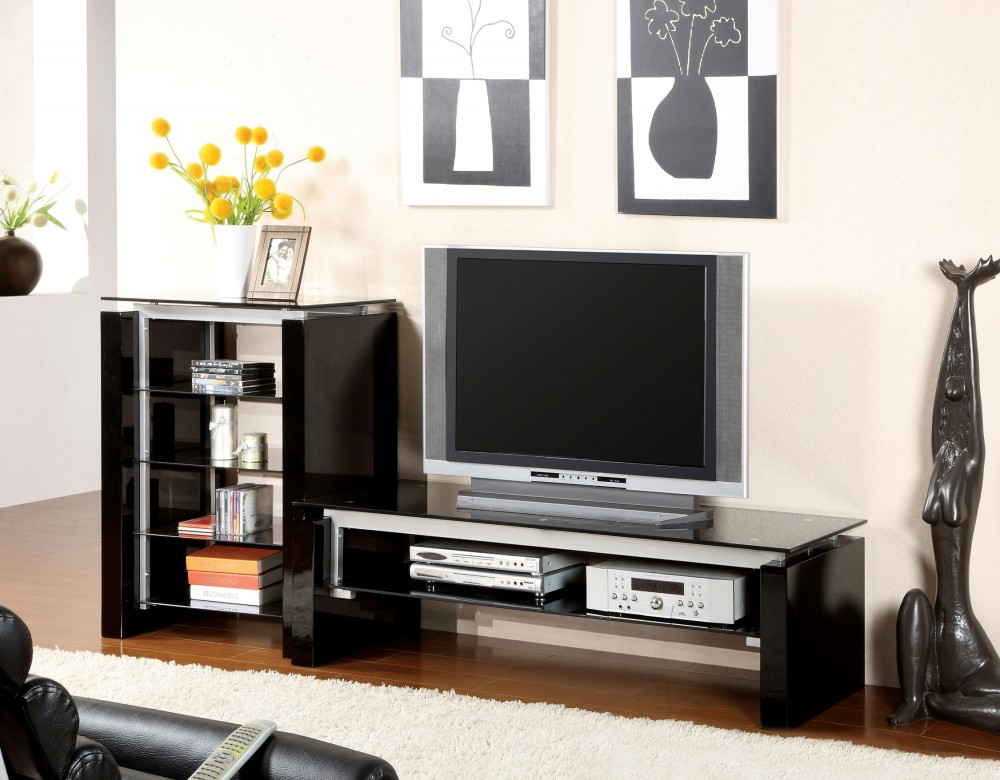 60 Inch Black Silver Finish Contemporary Tv Console Tv Stand D L