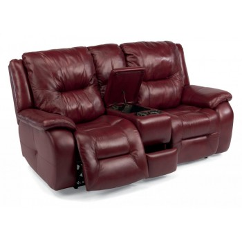 Astonishing Zachary Leather Power Reclining Loveseat With Console Bralicious Painted Fabric Chair Ideas Braliciousco