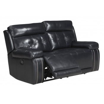 Graford - Navy - PWR REC Loveseat/ADJ Headrest