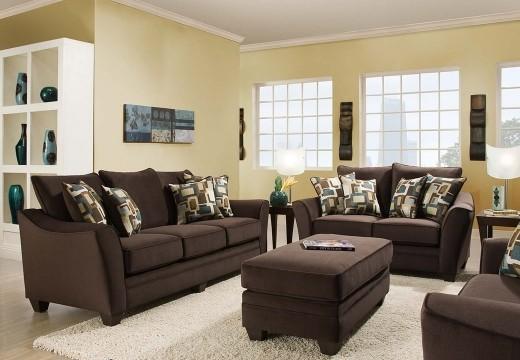Sofia Chocolate Living Room Set   AMER3850ESPRESSO-SET   Sofa ...
