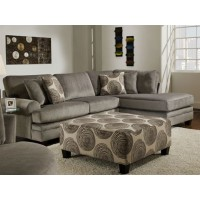 Oversize Groovey Smoke Sectional with Chaise and Ottoman