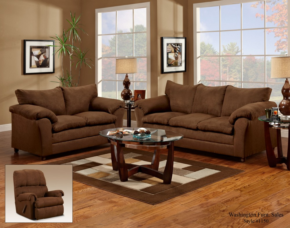 1150 Flatsuede Chocolate Sofa & Loveseat