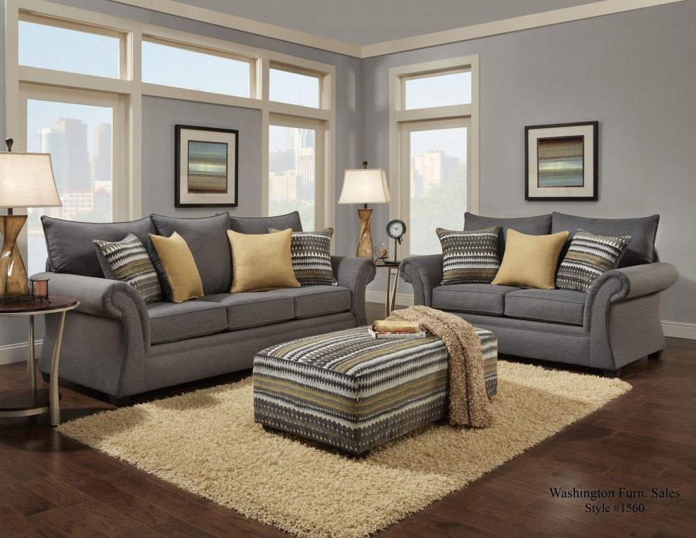 1560 Jitterbug Gray Sofa & Loveseat
