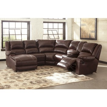 MacGrath - Mahogany DuraBlend 6 Pc. LAF Chaise Reclining Sectional
