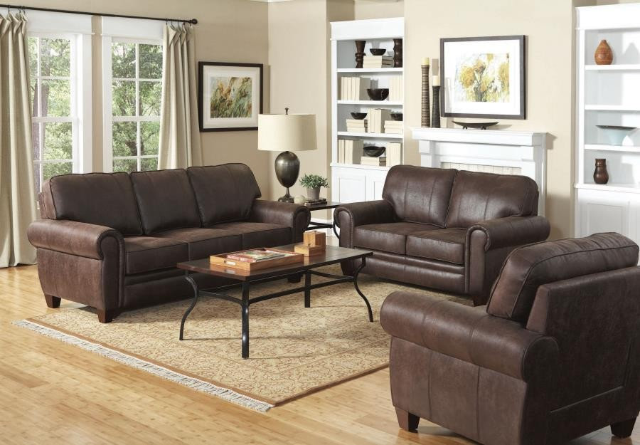 Allingham Traditional Brown Three Piece Living Room Set