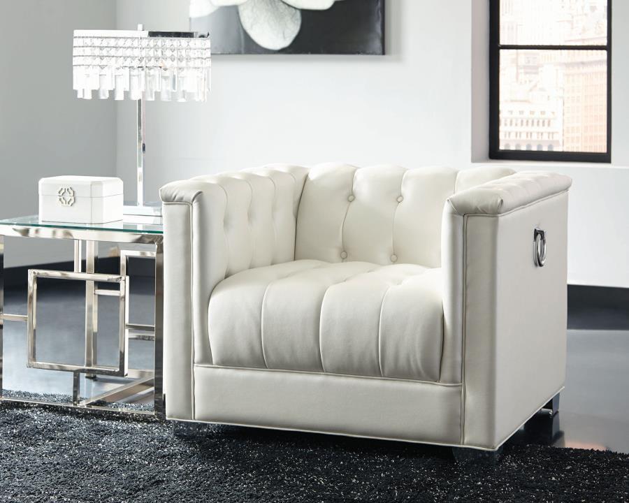 Chaviano Contemporary White Three Piece Living Room Set