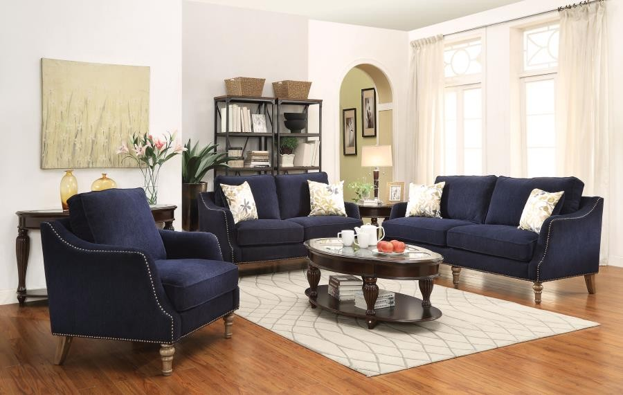 Admirable Traditional Blue Three Piece Living Room Set Download Free Architecture Designs Scobabritishbridgeorg