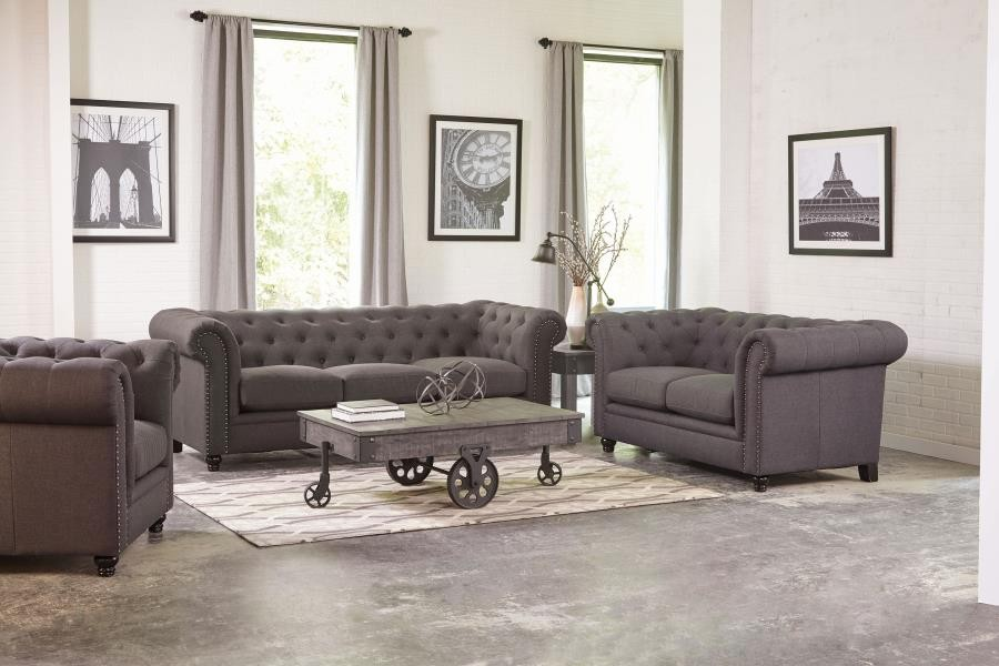 Roy Traditional Grey Two-Piece Living Room Set | 550361-S2 | Living ...