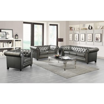 Roy Traditional Gunmetal Grey Two-Piece Living Room Set
