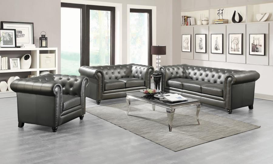 Roy Traditional Gunmetal Grey Two Piece Living Room Set