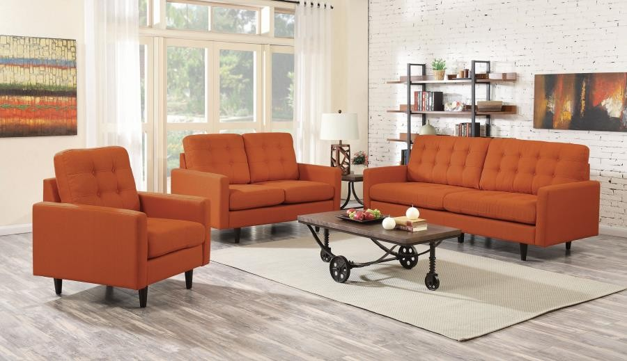 Kesson Mid Century Modern Burnt Orange Two Piece Living Room Set