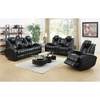 DELANGE MOTION COLLECTION - Zimmerman Black Faux Leather Power Motion Three-Piece Living Room Set
