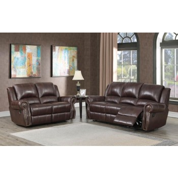 SIR RAWLINSON MOTION COLLECTION - Sir Rawlinson Burgundy Brown Motion Sofa and Loveseat