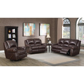 SIR RAWLINSON MOTION COLLECTION - Sir Rawlinson Burgundy Brown Motion Sofa, Loveseat and Recliner