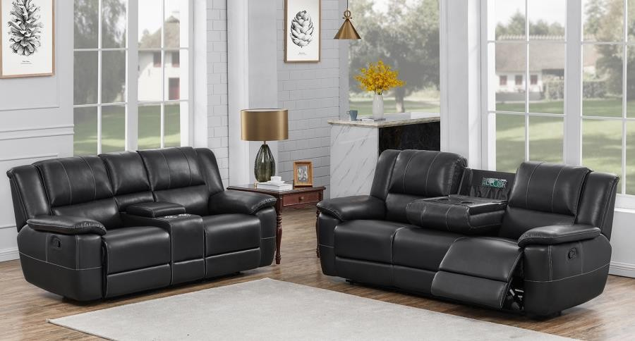 Lee Motion Collection Lee Transitional Black Leather Reclining Two Piece Living Room Set