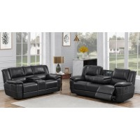LEE MOTION COLLECTION - Lee Transitional Black Leather Reclining Two-Piece Living Room Set